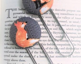 Bookmark, 2 Piece Set, Fox Bookmark, Red Fox Book Mark, Planner Clip, Herringbone