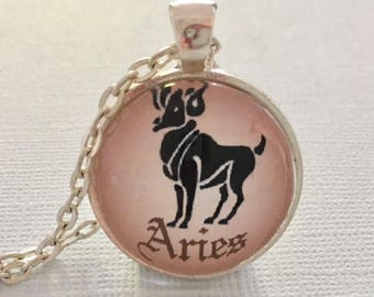 ARIES glass pendant necklace, Astrology necklace, Aries jewellery, Silver astrology necklace, Aries cabochon necklace