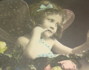 Vintage/Antique Hand Tinted Fantasy RPPC (Little girl dressed as a fairy