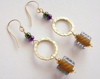 Eye Candy Earrings, Orange Cane Glass Earrings, Orange Furnace Glass Earrings, Cane Glass Bead Gold Drop Earrings