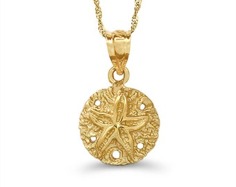 "14k solid gold sand dollar pendant on an 18"" solid gold chain, nautical jewelry"