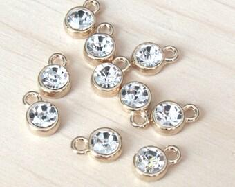 Rhinestone charms, set of 10, gold diamond charms, gold charms, small charms, tiny pendant, gold pendant, gold charm, clear rhinestone