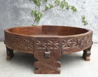 Chakki Table Antique Grinding Table Grain Grinder Table Coffee Table India Furniture Moroccan Style
