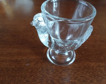 Vintage Clear Glass Chicken Egg Cup
