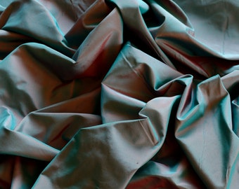 "Teal/Red Iridescent Silk Taffeta 100% Silk Fabric, 54"" Wide, By The Yard (TS-7005)"