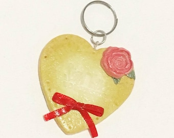 Big Rosy Heart Shaped Cookie Key Charm