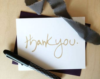 Thank you #4 (Sand) Hand Lettered Card