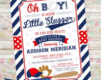 Baseball Baby Shower, Baby Boy Invite, Printable Baseball Invitation, Little Slugger, Oh Boy, All Star Invite, Sports Baby Shower, DIY