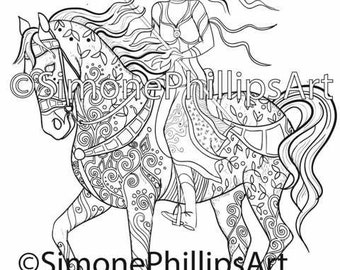 Horse & Fairy Queen Coloring Picture