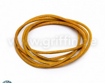 Leather strap, 2 mm, yellow, 100 cm, round leather, Griffin