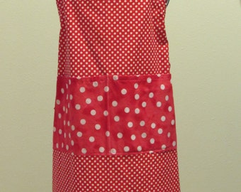 Small Adult Apron White Polka Dots   (# 422 )