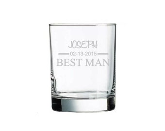 Best Man Gift, engraved Whiskey Rocks Glass. Custom best man gifts, etched with date of wedding, name, and title.