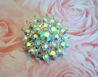 6 pieces - 26mm Metal  Crystal Daisy Rhinestone Buttons - wedding / hair / dress / garment accessories Flower Center