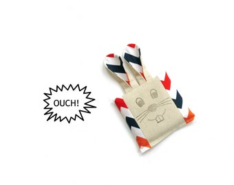 Boo boo bag cold compress rice bag, ouch pouch, chevron fabric,  boo boo bunny, freezer bag