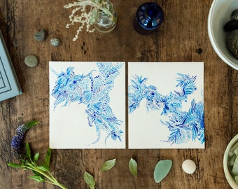 Two blue original ink drawings, inspired by nature - plants and the sea