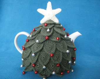 Tea cosy Christmas tree teacosy crochet pattern pdf