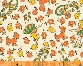 Storybook Classics Orange Children At Play 30's Reproduction 36084-6 fabric from Windham by the yard