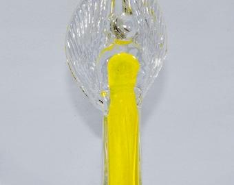 Handmade Yellow Angel Glass Figurine Gift