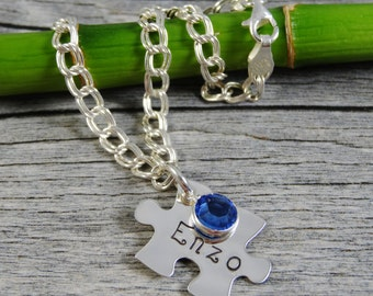 Hand Stamped Jewelry - Personalized Jewelry - Mom Bracelet - Sterling Silver Charm Bracelet - 1 to 8 Puzzle Pieces -  Names and Birthstones