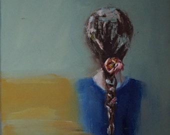 "Girl with braid original oil painting by Debi Sellinger 12""x12"""