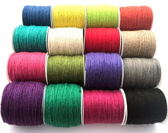 Natural Hemp Cord, Jute Cord, Twine, 2mm - choice of colours and metres