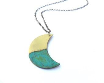 Ocean Tide Crescent Moon Necklace