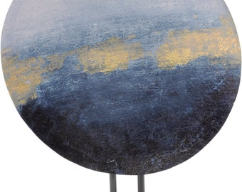 Libra Blue And Gold Abstract Iron Disc Sculpture Ornament Decoration 50cm