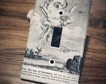 Custom Light Switch Cover Plate, Single Toggle Switch Cover, Greek Mythology Art, Home Decor, Antique Books, Vintage Lighting