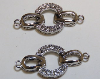 Antique Silver Fold Over Clasp (2)//single strand clasp//fold over clasp