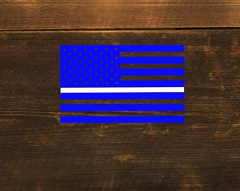Blue Thin White Line Flag Medic Paramedic EMT EMS Decal -Sticker - cling - window - car - tablet - cup - computer - laptop