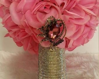 Pink Silk Roses Full Rhinestone Handle Brooch Bouquet