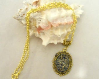Gold Plate Necklace with Vintage Look Ivory and Blue Pendant (1126)