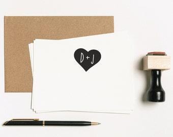 Custom Monogram Stamp, Heart Stamp, Personalized Monogram Stamp, Calligraphy Stamp, Custom Wedding Stamp, Self-inking Stamp (SMONO101)