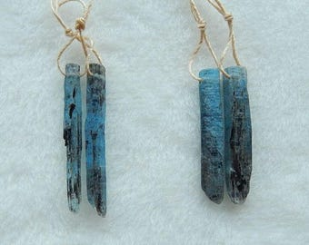 2Pirs Of Nugget Blue Kyanite Gemstone Earring Beads,35x4x3mm,31x5x4mm,6.1g,-E4456