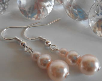 Trio of pale pink pearls wedding earrings