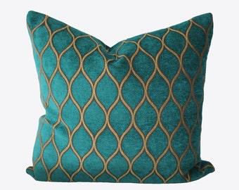 Decorative Designer Iman Moroccan Lattice, Turquoise Trellis Pillow Cover, 18x18, 20x20, 22x22 or Lumbar, Throw Pillow