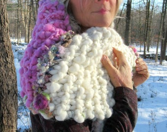 chunky soft hand knit scarf oversize handspun luxury art yarn patchwork boho wrap - warm winter snow lady of the frozen lands