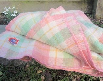 """AYERS Pure 100% WOOL Blanket / Rose Mint Green Yellow Cream Plaid / Made in Canada / Vintage 50s Winter Bedding / Lachute Quebec 72"""" x 84"""""""