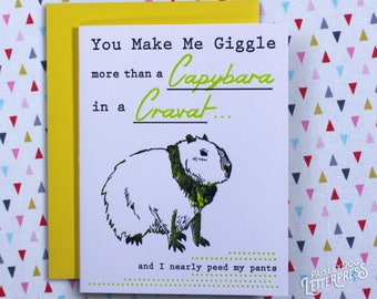 Letterpress Greeting Card - Capybara in a Cravat (single) Gifts for Him / Gifts for Her