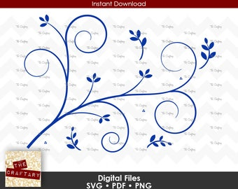 Vine with Leaves Swirls 2 SVG Files
