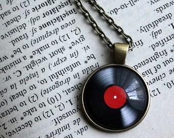 Vinyl Record Pendant - Retro music necklace - Glass Dome Pendant