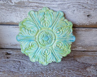 Architectural Wood Applique in White Shades of Blue and Green Weathered Decorative Accent for Furniture or Wood Decor One of a Kind B-1