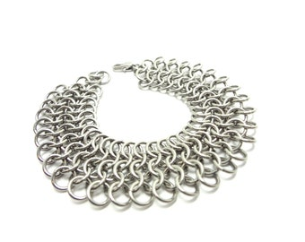 Stainless Steel Chainmaille Bracelet Handmade Medium Wide