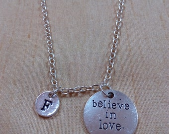 Believe in Love Necklace, Valentine Necklace, Wedding Jewelry, Gift for Wife, Love Stone Heart, Love Charm, Charm Necklace, Silver Necklace