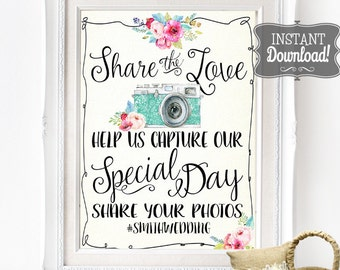 Share the Love Wedding Social Media Poster - INSTANT DOWNLOAD - Partially Editable Wedding Photo Social Sharing Sign with 4 sizes included