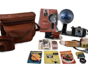 Vintage Kodak Pony 828 Camera Kit - Mid Century Camera Kit, 11 Piece Camera Set, 1950's Kodak Pony Camera Set