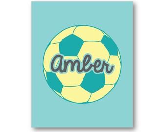 Soccer Ball Name Poster, Soccer Player Gift, Soccer Name Art, Soccer Name Canvas, Custom Soccer Art, Soccer Team Gift, Soccer Coach Gift