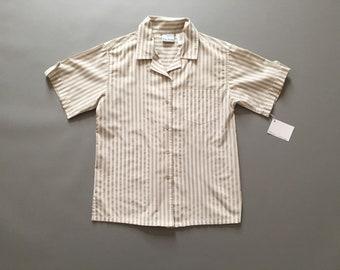 ECRU striped shirt | cotton striped button down shirt | 1990s ecru stripes blouse