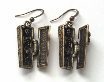 Antiqued Gold Coffin and Skeleton Earrings - Day of the Dead Earrings -Halloween Earrings - Hinged Coffin Earrings
