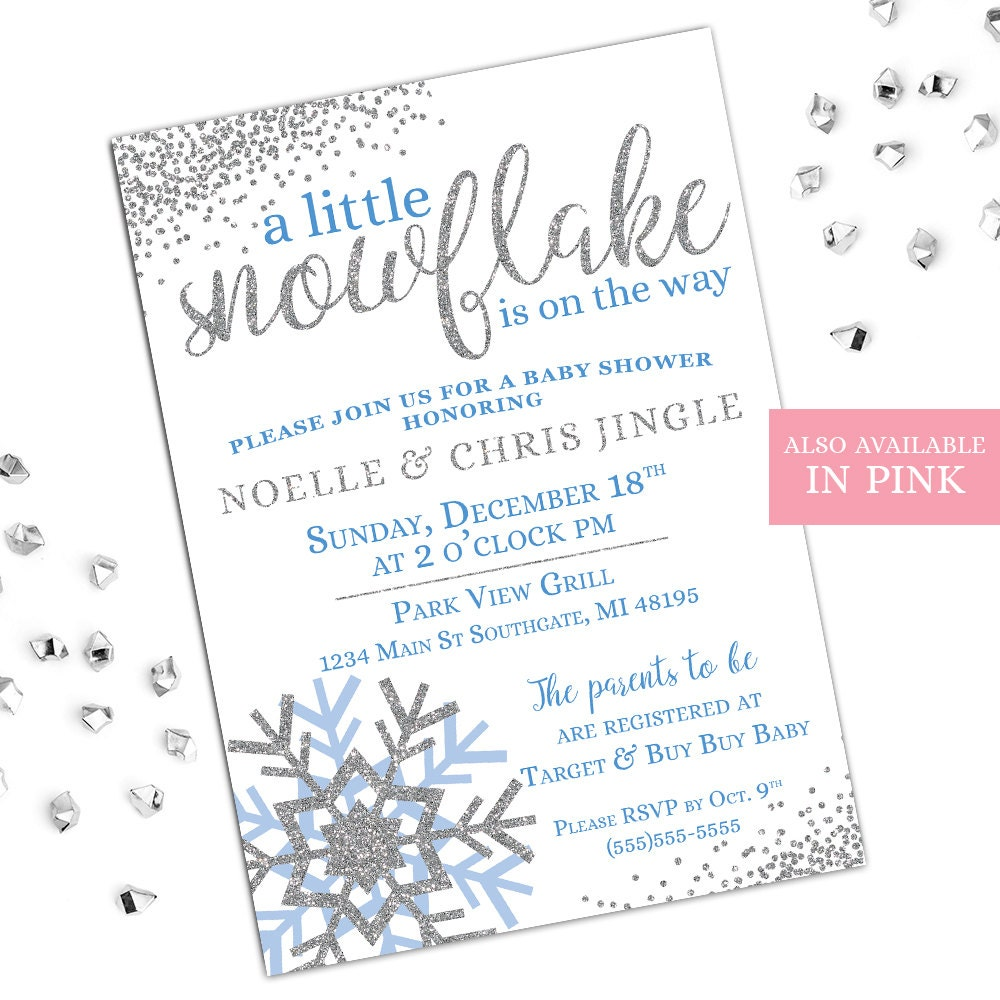 Winter Baby Shower Invitations A Little Snowflake Is On The